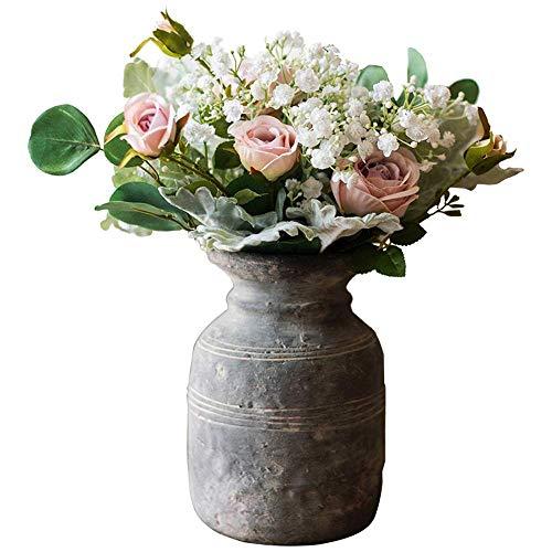 Vintage Zement Vase europäischen und amerikanischen Stil Blumentopf mit Linie handgemachte Kunst Vase Blume Alten antiken Stil Retro Blumenkultur Dekoration 12 * 20cm (Größe: 12cm)