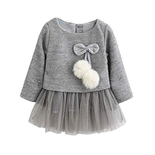 MEIbax Babykleidung MEIbax Kleinkind Baby Kind Mädchen Langarm gestrickter Bogen Neugeborenes Tutu Prinzessin Kleid 0-24M