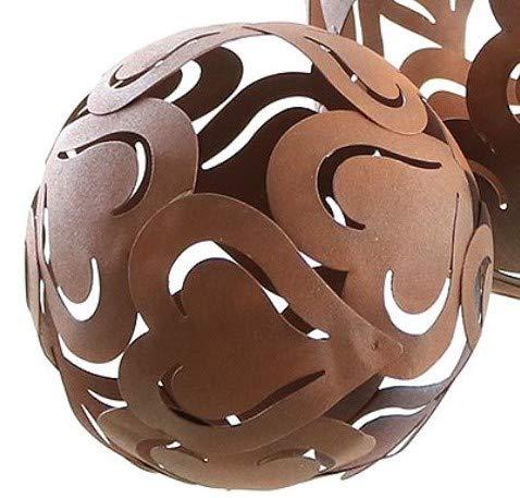 Rostoptik Deko-Kugel Herzen 14 cm Garten Dekoration Tischschmuck Geschenk