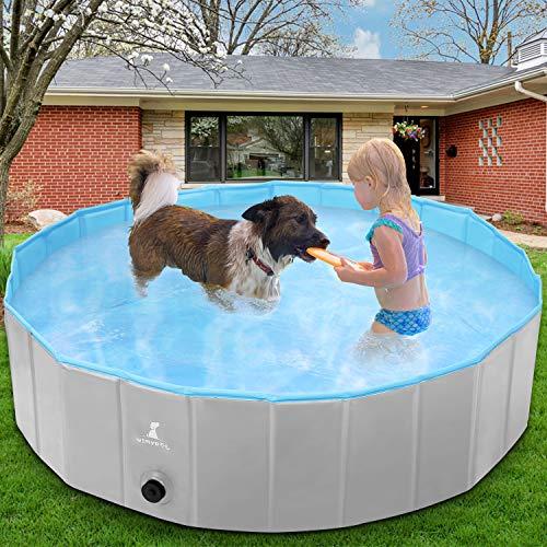 Wimypet Piscina per Cani, 160 X 30 CM Bagno per Cani, Piscina per Bambini, Lavandino Pieghevole per Animali Domestici con Antiscivolo in PVC Ecologico Resistente all'Usura (160 X 30 CM Grigio)