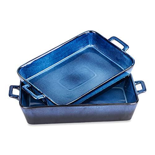 vancasso Ceramic Bakeware Sets, Rectangular Lasagna Pans, Large Baking Pans, Stoneware Baking Dish, Casserole Dish With Handle,9.8×17.3Inch, 2 Pcs
