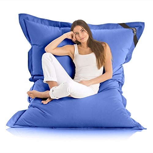 Lazy Bag Original Indoor & Outdoor Sitzsack XXL 400L Riesensitzsack Sitzkissen Sessel für Kinder & Erwachsene 180x140cm (Blau)