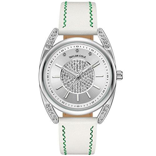 Taylor Cole Damen Armbanduhr Weiß Kristall Leder Armband Lederband Analog Quarz Uhr für Frauen TC137