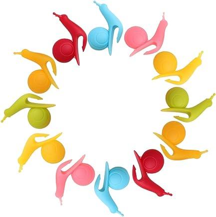Preisvergleich für SwirlColor 12 Stück neue nette bunte Schnecke Form-Silikon-Hängeteebeutelhalter-Schalen-Becher-Süßigkeit-Farben-Geschenk-Set