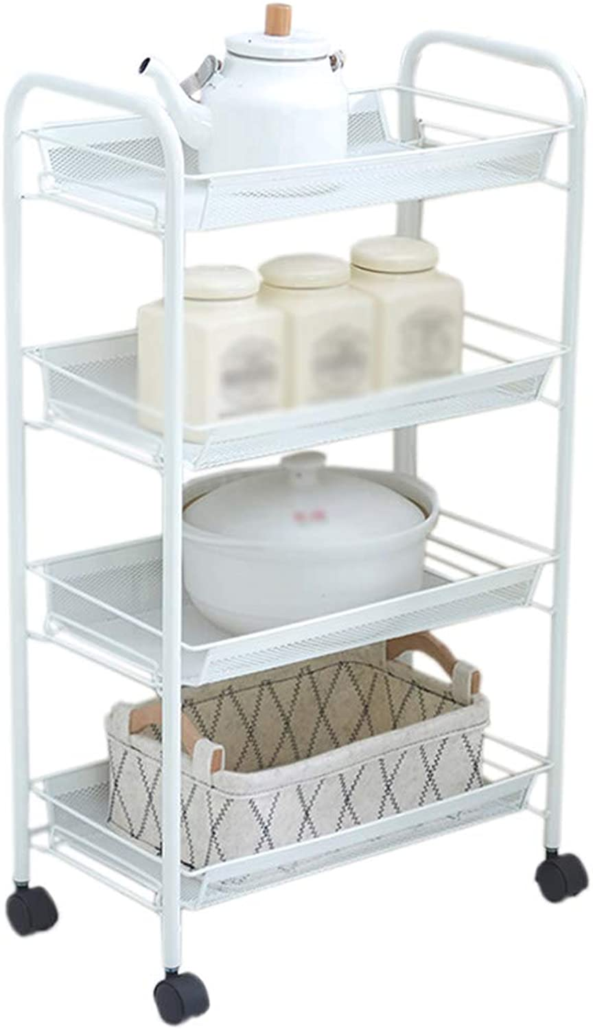 HUYP 4-Story Fashion Home Bedroom Bathroom Storage with Wheels Removable Kitchen Shelves