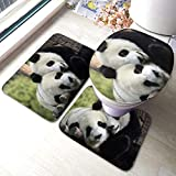 RedBeans Badvorleger, rutschfest, mit süßem Panda-Motiv, 3-teiliges Set, inkl. weicher Badematte, WC-Vorleger und WC-Sitzbezug