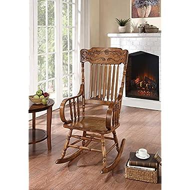 Rocking Chair with Ornamental Headrest Warm Brown
