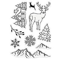 スクラップブッキングカッティングダイ、メタルカッティングダイセット、DIYディアクリスマスツリーアルバムエンボス透明シリコンスタンプシール(B)