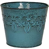 Robert Allen MPT01890 Fluer De Lis Series Metal Planter Flower Pot, 6', Color Surf Blue