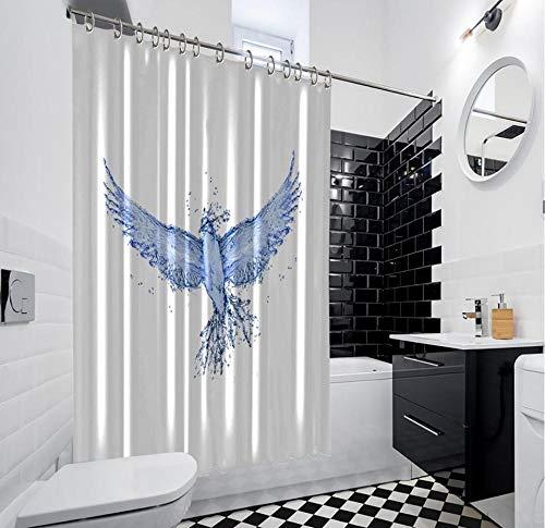 QAQA vogel gemaakt van water vliegen met sterke vleugels kristal leven natuur blauw douchegordijn 1.8cm*2m met haak