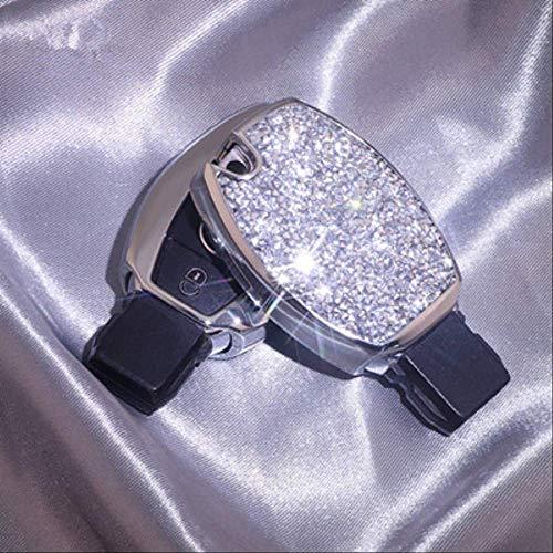 AHUIAI Schlüsselfall Funkelnde Diamant-Autoschlüssel-Schutzhülle Hülle Für Mercedes Benz W203 W210 W211 W124 W202 W204 Amg AutozubehörA-Silber