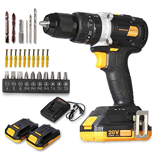 "Inspiritech 20V Max Brushless Motor Cordless Hammer Drill/Driver with 2 Li-ion Batteries and Charger,Variable Speed 1/2"" Full Metal Keyless Chuck,20+3 Torque Setting,Front LED Light and 26 Accessories"