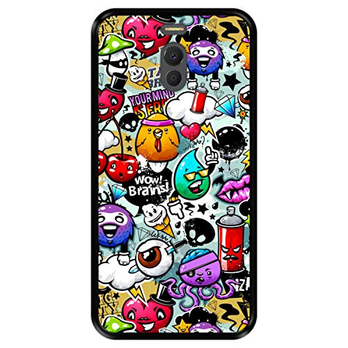 Hapdey Funda Negra para [ Meizu M6 Note ] diseño [ Abstracto, Textura de Graffiti con Personajes Animados 2 ] Carcasa Silicona Flexible TPU