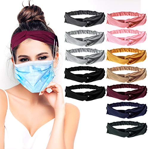 12pcs Twisted Criss Cross Button Headband Holder, Non Slip Elastic Headbands with Button Knitted Hairband Breathable Sweatband Sports Head Wrap for Yoga Outdoor Activities