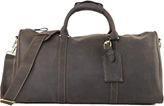 GY Men's Leather Carry-on Travel Bag, Leather Large-Capacity Boarding Bag, Business Travel Short-Distance Travel Duffel Bag (Color : Dark Brown)