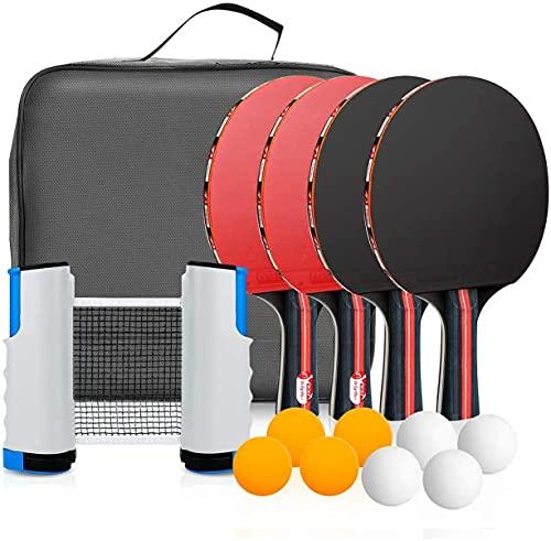 Traje de Tenis de Mesa zerotop Traje de Tenis de Mesa portátil, Que Incluye 4 Raquetas de Tenis de Mesa / Raquetas / Raquetas, 8 Pelotas de Tenis de Mesa, 1 Red de Tenis de Mesa retráctil