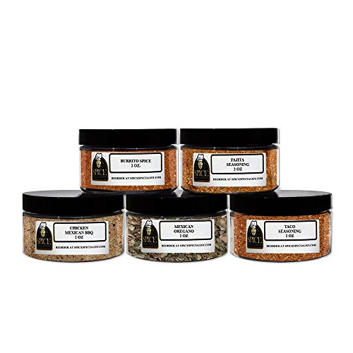 Spice Specialist's Mexican Spice Gift Set- Contain five 4oz Jars (holds 2oz) (1 each of: Burrito spice, Mexican oregano, Taco seasoning, Fajita Seasoning and Mexican BBQ seasoning.)