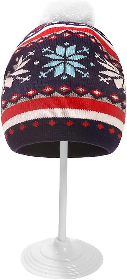 Eurobuy Kids Toddler Winter Hat, Unisex Toddler Christmas Warm Knitted Pompom Beanie Hat for 1-5Y Children