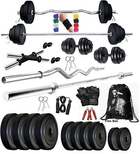 Bodyfit Total Gym Kit Combo 20 Kg Weight Plates Dumbbell Set Home Gym Set,Exercise Set,Accessories (Multicolour)