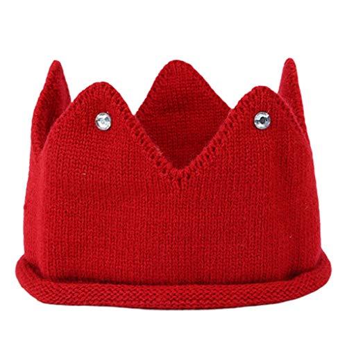 cdhgsh, Gorro de Punto para bebé, Bonito Gorro de Punto con Forma de Corona para bebé, Diadema cálida, Rojo