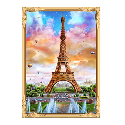 ULTNICE Kit Punto de Cruz Diamante 5d Resina Bricolaje Bordado Pintura Paisaje Torre Eiffel 40x30 cm