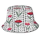 RUEMAT Sombrero Pescador Unisex,Patrones sin Fisuras de Pol Kadots Dibujados a Mano,Plegable Sombrero de Pesca Aire Libre Sombrero Bucket Hat para Excursionismo Cámping De Viaje Pescar