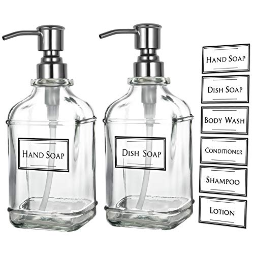 KUOSEI 18Oz Antique Thick Glass Soap Dispenser with 304 Rustproof Stainless Steel Pump, Kitchen Dish Soap Dispenser, Bathroom Liquid Soap Dispenser with 12 Pcs Waterproof Labels (2-Pack)