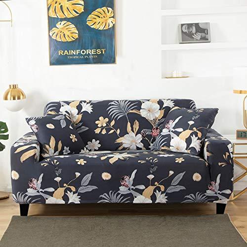Housse de canapé imprimé Floral Couvre Housse de canapé Extensible pour Salon Housse de Protection antidérapante pour Meubles A21 4 Places
