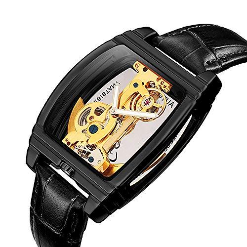 YZLYJL Relojes mecanicos,Reloj de Pulsera mecánico automático de Moda clásica para Hombre, Reloj Transparente, Pulsera de Acero Inoxidable con Esqueleto, Correa de Malla, Relojes para Hombre, Negro
