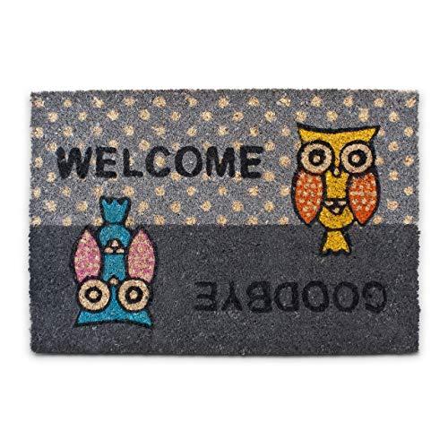 Relaxdays 10016785 Paillasson Tapis de sol en fibre de coco tapis d'entrée Welcome/ Goodbye chouettes hiboux tapis de plancher accueil 40x60 cm dessous antidérapant PVC caoutchouc essuie-pieds, gris