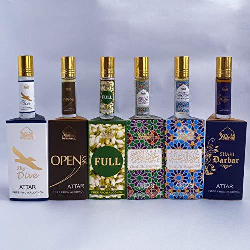Dukhni Pure Attar Oil (CPO) Blends - Alcohol Free, Vegan & Pure. Set of 6 x 6ml (0.2 Fl Oz Each) - Open, Attar Full, SkyDive, Shahi Darbar, Oud Al Qamar, Oud Al Raghbah