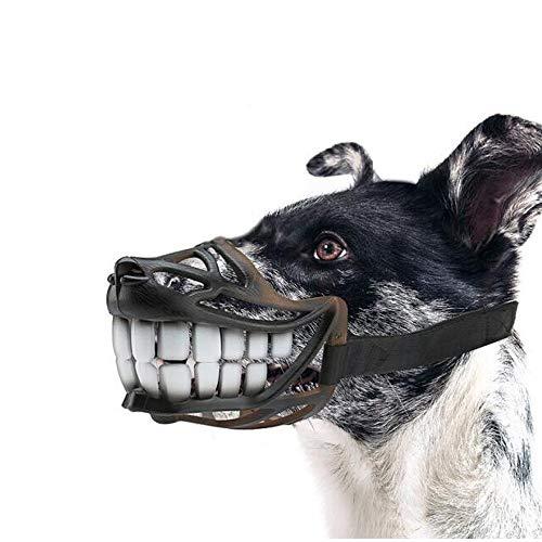 Mundschutz für Hunde, weiches, atmungsaktives Leder + Mundschutz für Hunde - Gegen Beißen/gegen Verschlucken/gegen Rufe , Für kleine, mittlere und große Hunde Heimtierbedarf (Size : M)