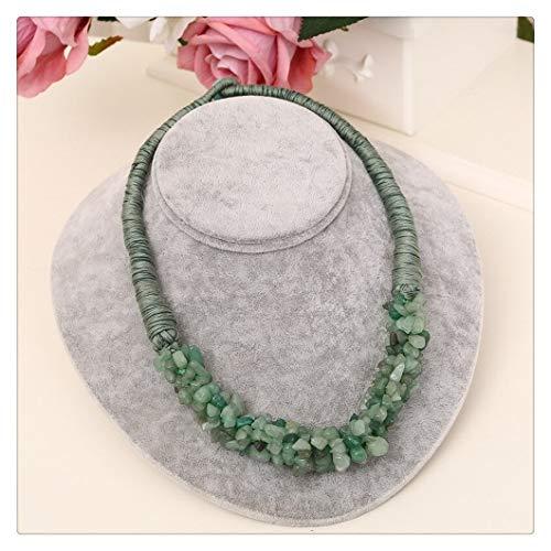 LUOSI Rojo Brillante Colgante Piedra Natural Delicado Gargantilla Coral Diseño Cuerda Collar for Las Mujeres Collares (Metal Color : XL804 Green)