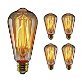 WEDNA 4 Pack ST64 E27 Edison Screw Bulb, 60W 220V Vintage Light Antique Style Light Bulb Classic Squirrel Cage...