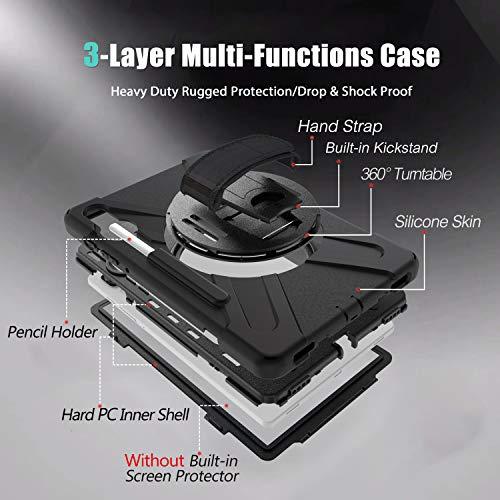 Gerutek Hülle Samsung Galaxy Tab S6 SM T860/SM T865 (10.5-Zoll), Stoßfeste Robust Panzerhülle mit Stifthalter, Drehbar Stände, Handschlaufe, Schultergurt Schutzhülle für Samsung Tab S6 10.5, Schwarz