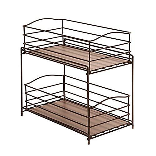 Seville Classics 2-Tier Sliding Basket Kitchen Cabinet Organizer, Bronze