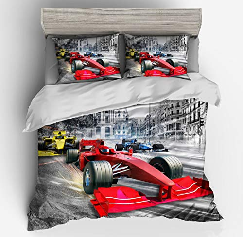 Bedding Set 3DThe New Basketball Football Boxing Motorcycle Racing Personality Sports Style Microfiber Duvet Cover and Pillowcases Zipper Closure Easy Care (Racing Car, Single)