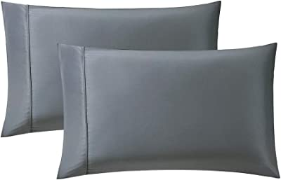 Bourina Pillowcase for Hair and Skin with Envelope Closure,Satin 2-Pack Pillow case, Queen 20×30 Inch Grey