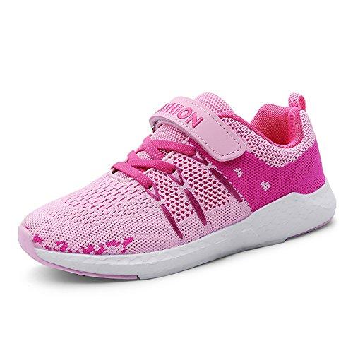 Unpowlink Kinder Schuhe Sportschuhe Ultraleicht Atmungsaktiv Turnschuhe Klettverschluss Low-Top Sneakers Laufen Schuhe Laufschuhe für Mädchen Jungen 28-37, Rosa, 37 EU