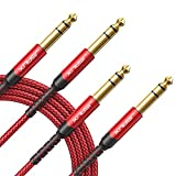 1/4 Inch Cable Guitar Balanced Cable [2-Pack 6.6ft], JSAUX 1/4 TRS Jack to 6.35mm Stereo Audio Cable Male to Male for Electric Guitar, bass Guitar, Electric Mandolin, Speaker-Red