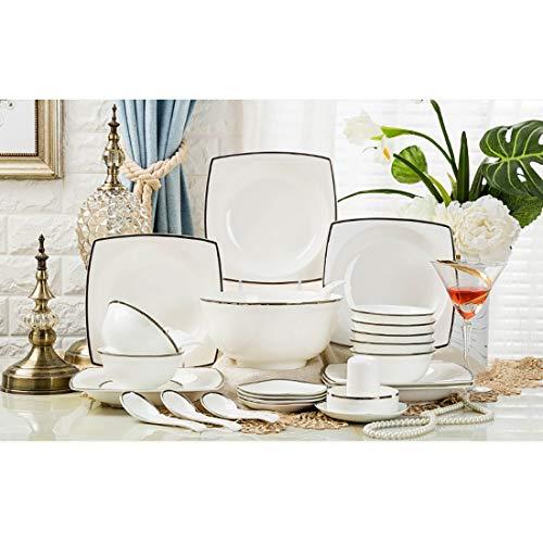MMFXUE Set da tavola in Porcellana Bianco Combinato Avorio da 60 Pezzi Set da tavola in Porcellana con scodelle Piatti da Dessert Piatti da zuppa Piatti da Cena , Piatti da Dessert