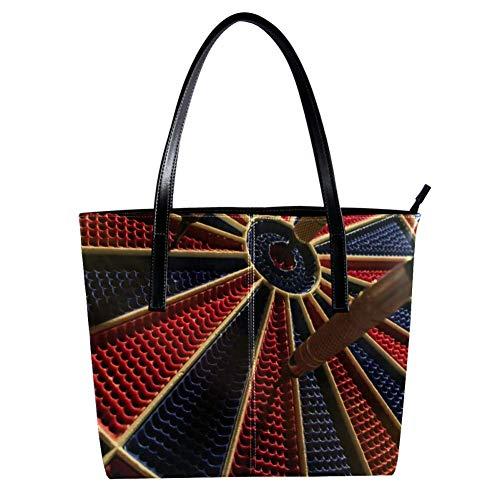 TIZORAX runde, schwarze und rote Dartscheibe für Damen, PU-Leder, modische Handtasche mit Tragegriff, Schultertaschen