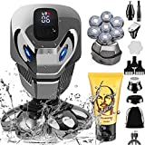 YEMIUGO Head Shavers for Bald Men, 9 in 1 Multifunction Electric Shaver & Grooming Sets with Nose Ear Hair Trimmers & Shaving Cream, 7D Beard Hair Razor for Bald, Cordless Rechargeable Shaver for Men