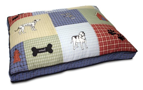 Petmate Quilted Applique Dog Bed, Classic Dog Motif, Large Grand, 27' x 36', Multicolored