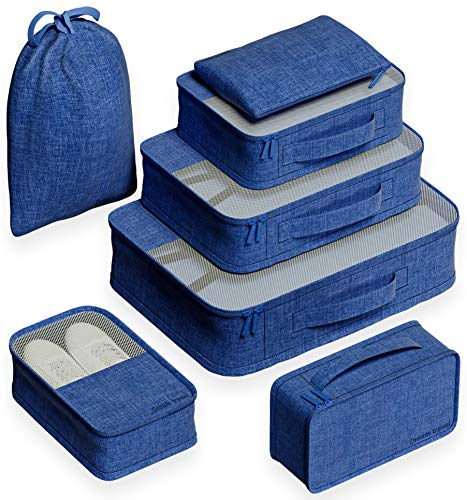 EVEK Travel Packing Cubes, Luggage Organizers for Luggage Suitcase. Different Set (NewBlue)