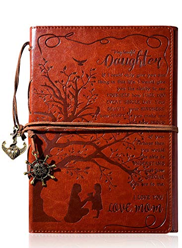 To My Daughter Gift Leather Writing Journal from Mom with Inspirational Quotes - Retro Tree of Life Faux Birthday Wedding Graduation Back to School Personal Diary, Travel, Notebook, Writers Notebook