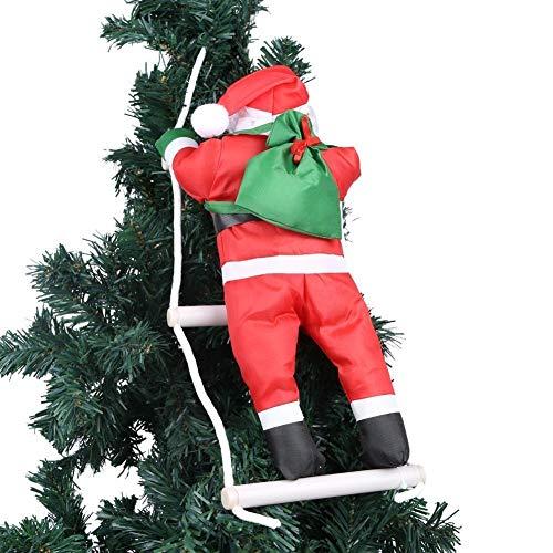 Ornement de Noël Représentation du père Noël montant sur une échelle de corde sur un sapin de Noël Décoration de maison, murale, de porte