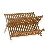Bambú plegable LEORX escurreplatos plato escurridor portadosis (la madera)