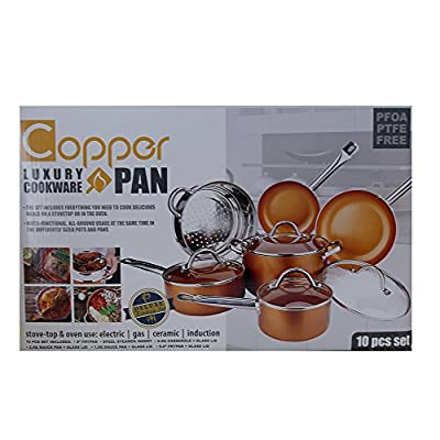 Copper H-02628 Pan 10-Piece Luxury Induction Cookware Set Non-Stick, 21.5 x 11.5 x 11 inches …