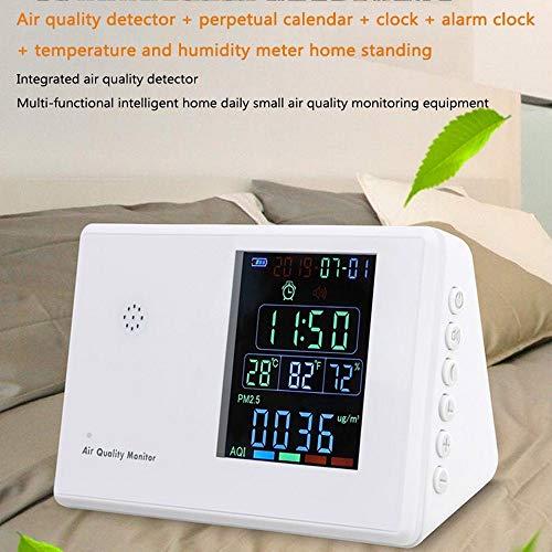 JIRCA Luftqualität Messgerät,Luftdetektor, Luftqualität-Messgerät für Feinstaub PM2.5, PM10 und TVOC, Testen für Häuser, im Freien und Autos, Anzeigezeit Wecker Kalender
